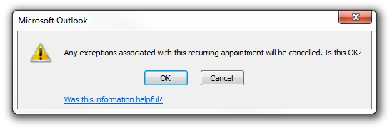 Microsoft Outlook Exception