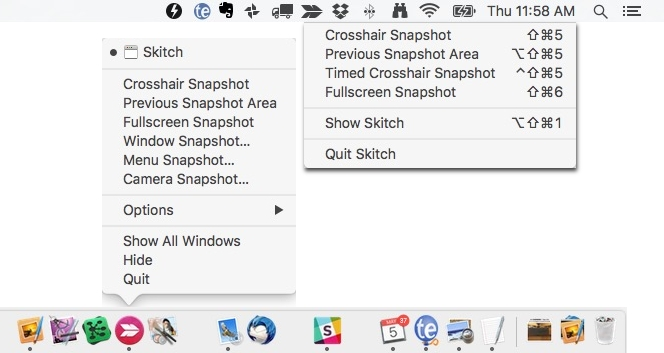Skitch Menu Options