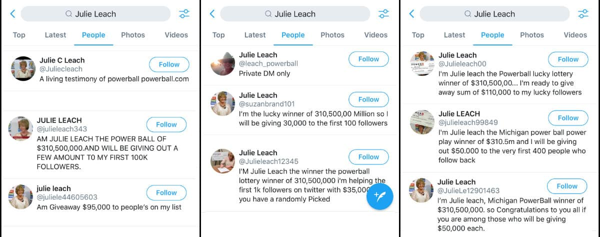 Twitter Julie Leach Accounts