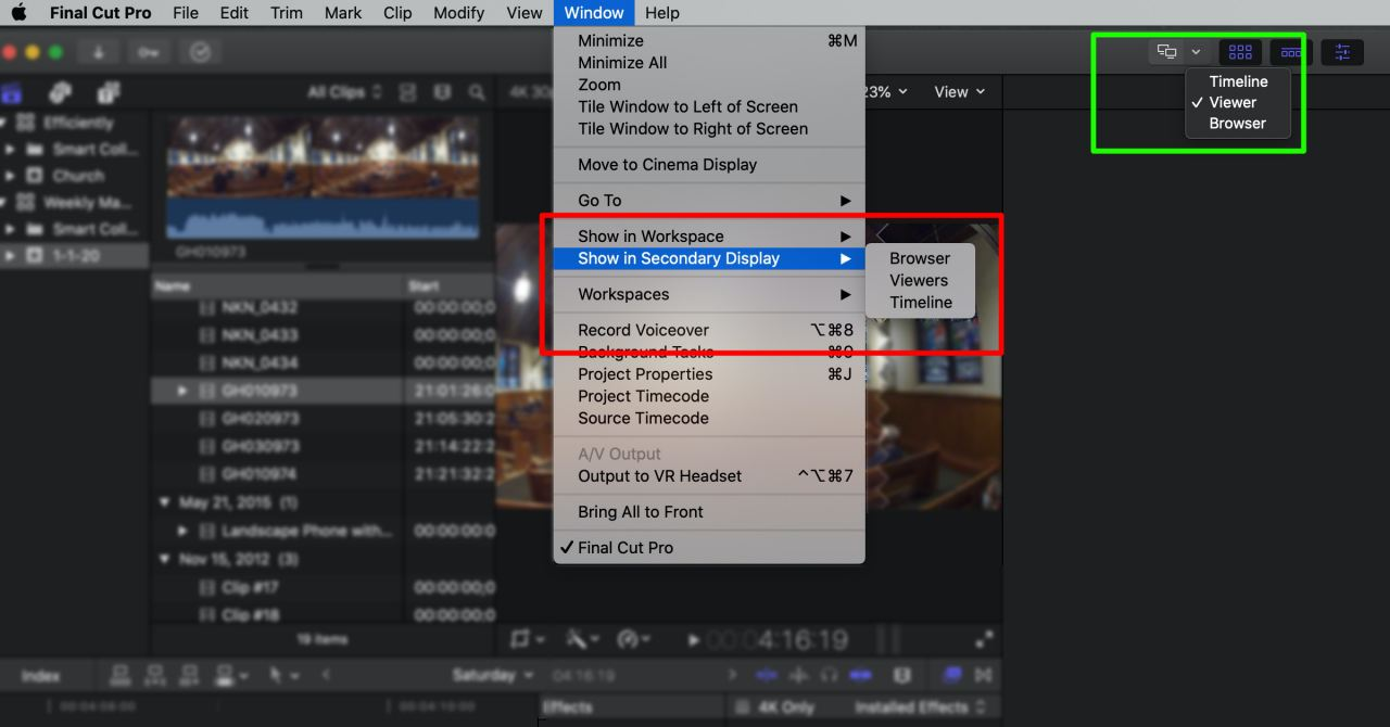 FCP Second Display Selection