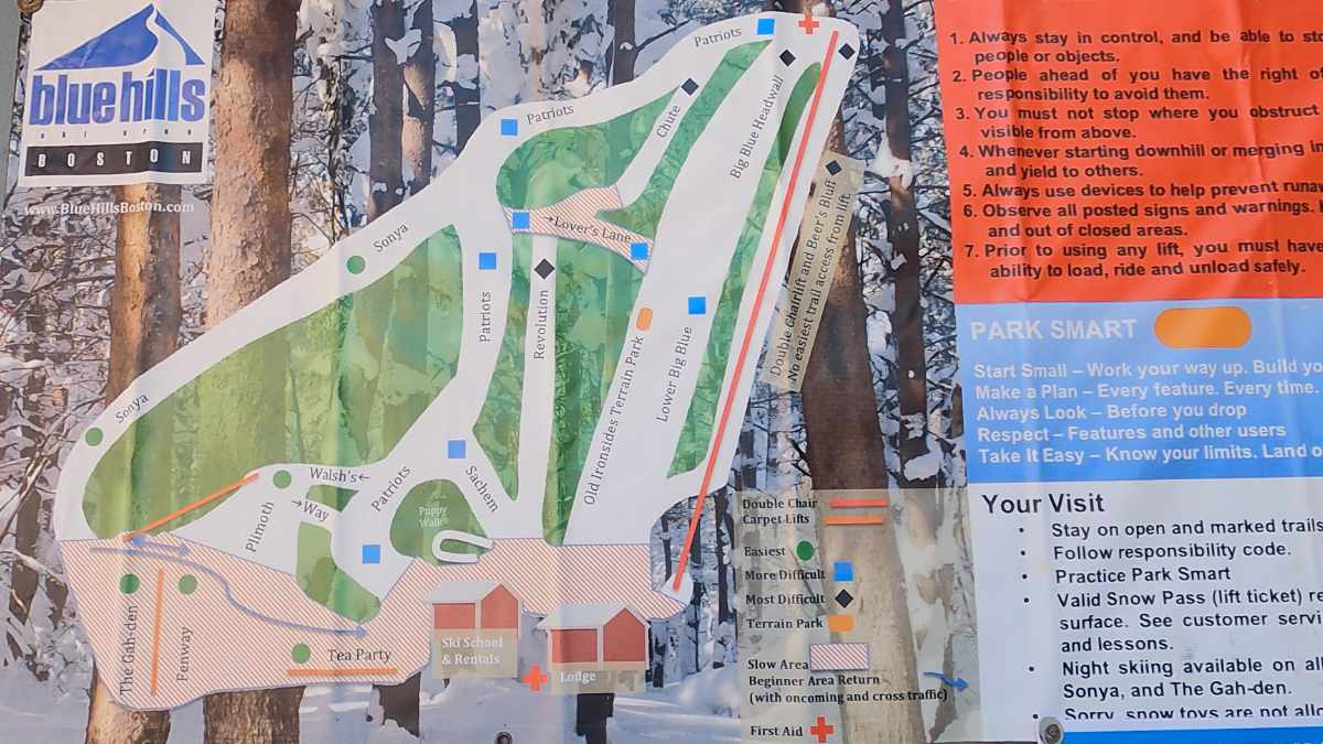 Blue Hills Trail Map 2021